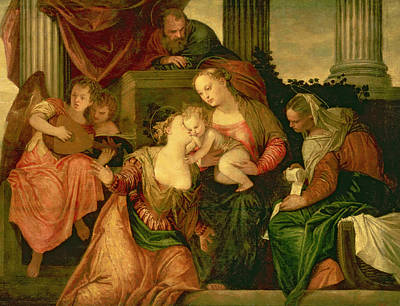 Guitar Angels Painting - The Mystic Marriage Of Saint Catherine by Veronese