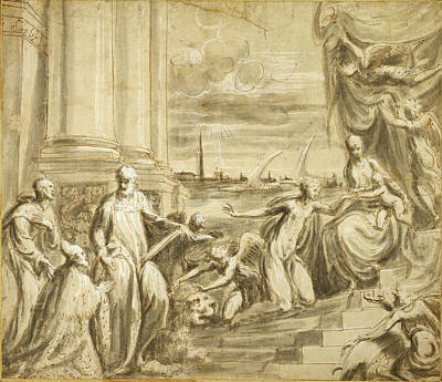 Catherine White Drawing - The Mystic Marriage Of Saint Catherine With Saints by Litz Collection