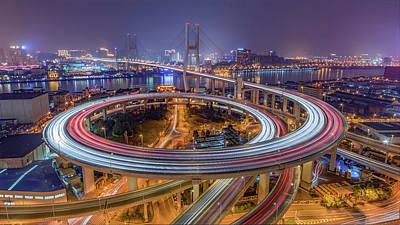 Light Wall Art - Photograph - The Nanpu Bridge by Barry Chen