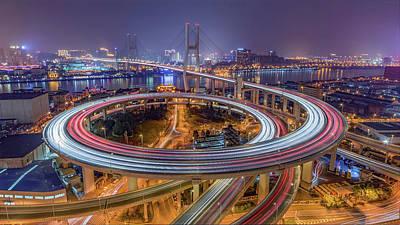 Bridge Road Photograph - The Nanpu Bridge by Barry Chen
