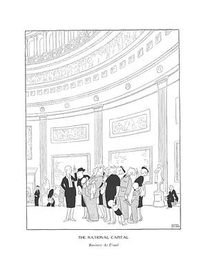The National Capital  Business As Usual Art Print by Gluyas Williams
