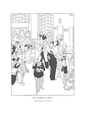 Delivering Drawing - The National Capital Hotel Lobby by Gluyas Williams