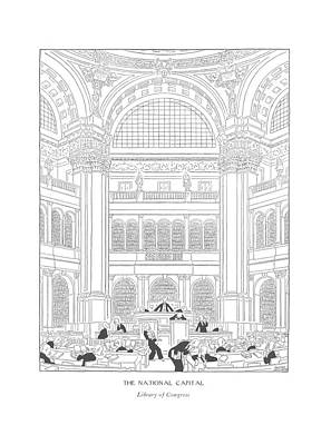 The National Capital Library Of Congress Art Print by Gluyas Williams