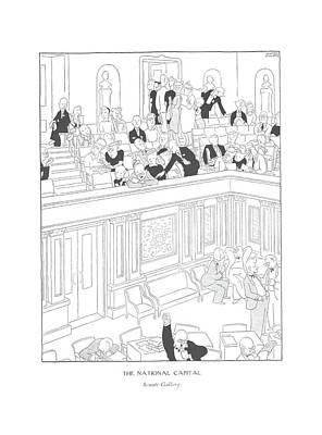 The National Capital  Senate Gallery Art Print by Gluyas Williams