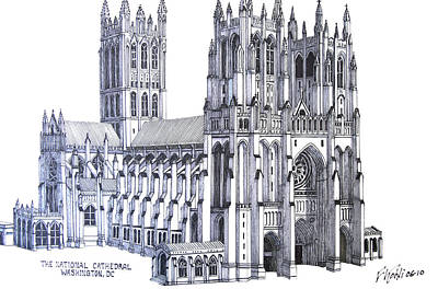 Pen And Ink Historic Buildings Drawings Drawing - The National Cathedral by Frederic Kohli