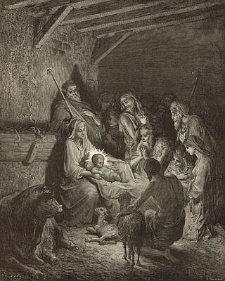 Scriptural Drawing - The Nativity by Antique Engravings