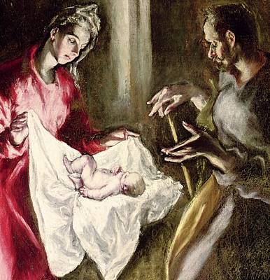 Old Barn Painting - The Nativity by El Greco Domenico Theotocopuli