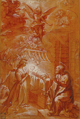 Wash Drawing - The Nativity Francesco Vanni, Italian, 1563 - 1610 Italy by Litz Collection