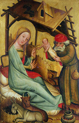Manger Photograph - The Nativity From The High Altar Of St. Peters In Hamburg, The Grabower Altar, 1383 Tempera On Panel by Master Bertram of Minden