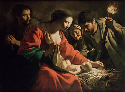 Torch Painting - The Nativity by Le Nain