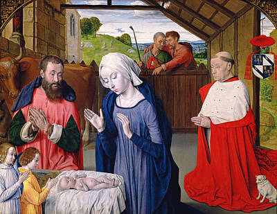 Jesus Photograph - The Nativity Of Cardinal Rolin Oil On Panel by Master of Moulins