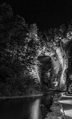 Photograph - The Natural Bridge In High Contrast Black And White by Amber Kresge
