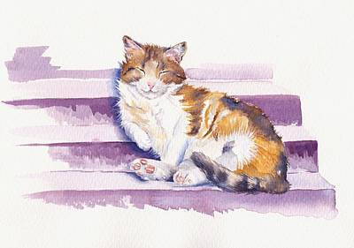 Cat Painting - The Naughty Step by Debra Hall