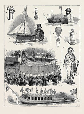 Vintage Lamp Drawing - The Naval And Submarine Engineering Exhibition At Islington by English School