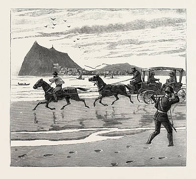 Orthodox Drawing - The Navy Cup At Gibraltar, Returning Home Across The Sands by English School