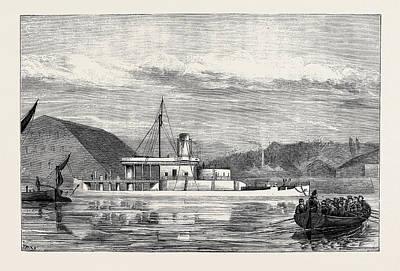 The Navy, H.m.s. Glatton The Vessel Off Chatham Dockyard Art Print