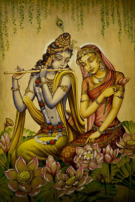 Bhakti Painting - The Nectar Of Krishnas Flute by Vrindavan Das