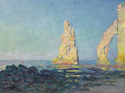 Needle Painting - The Needle Of Etretat  Low Tide by Claude Monet