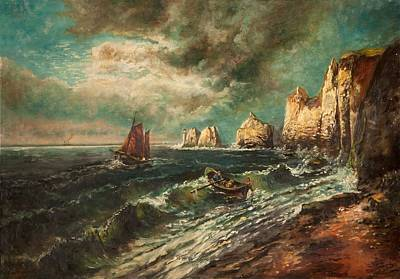 British Isles Wall Art - Painting - The Needles, Isle Of Wight by Thomas Grimshaw