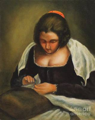 Painting - The Needlewoman by Kathy Lynn Goldbach