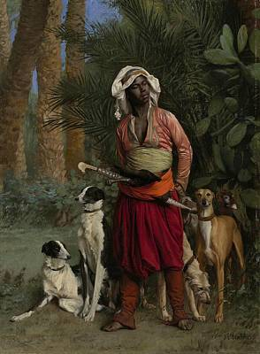 Negro Painting - The Negro Master Of The Hounds by Jean-Leon Gerome
