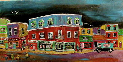 Litvack Naive Painting - The Neighbourhood  by Michael Litvack
