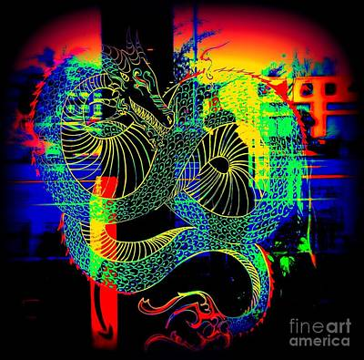 Photograph - The Neon Dragon by Kelly Awad