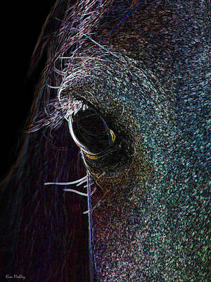 Kim Digital Art - The Neon Horse by Kim Mobley