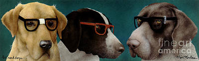 The Nerd Dogs... Art Print by Will Bullas