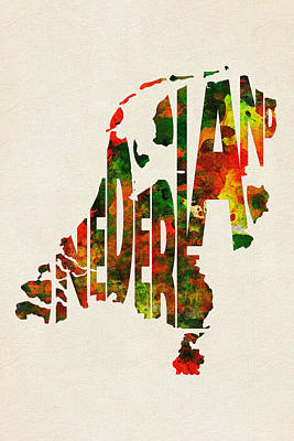 Netherlands Map Digital Art - The Netherlands Typographic Watercolor Map by Ayse Deniz
