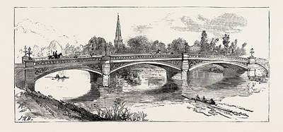 The New Bridge Bedford, Engraving 1884, Uk, Britain Art Print by English School
