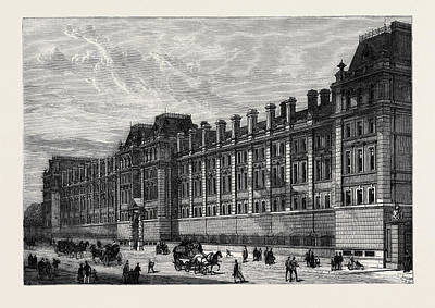 Barrack Drawing - The New Cavalry Barracks At Knightsbridge London 1880 by English School