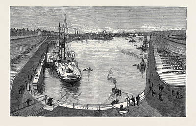 Dock Drawing - The New Dock From The Hotel Holyhead 1880 by English School