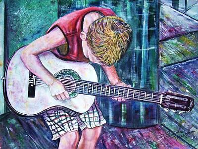 The New Guitar Art Print by Linda Vaughon