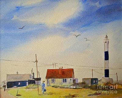 Painting - The New Lighthouse Dungeness by Beatrice Cloake