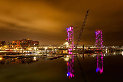 Prescott Park Photograph - The New Memorial Bridge At Night by Jeff Sinon