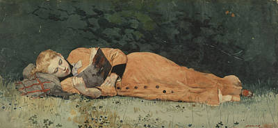 Novel Painting - The New Novel by Winslow Homer