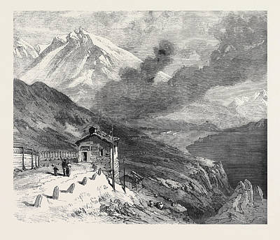 Alps Drawing - The New Overland Route To India The Railway Over The Alps by Indian School