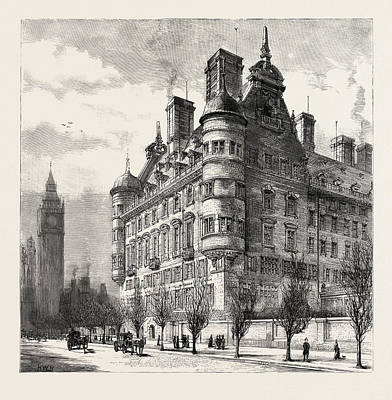 Victoria Embankment Drawing - The New Police Offices On The Victoria Embankment by English School