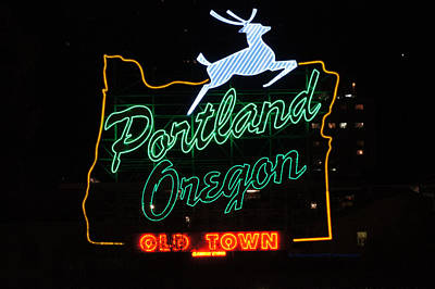 The New Portland Oregon Sign At Night Art Print by DerekTXFactor Creative