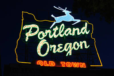 Photograph - The New Portland Oregon Sign by DerekTXFactor Creative