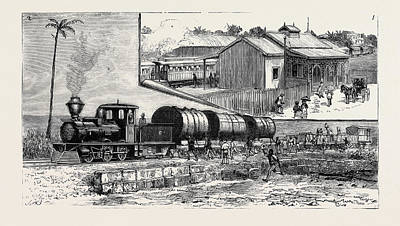 Bridgetown Drawing - The New Railway At Barbadoes by English School