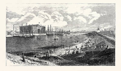 Steamboat Drawing - The New Railway Steamboat Docks Barrow-in-furness North by English School