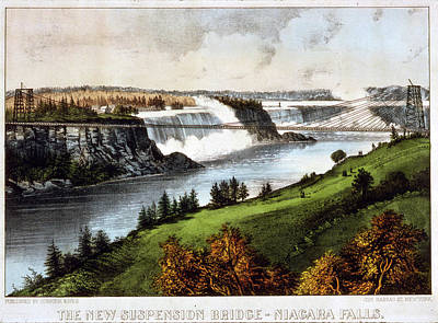 Suspension Drawing - The New Suspension Bridge--niagara Falls Currier & Ives by Litz Collection