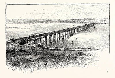 Fife Drawing - The New Tay Viaduct, From The South by Scottish School