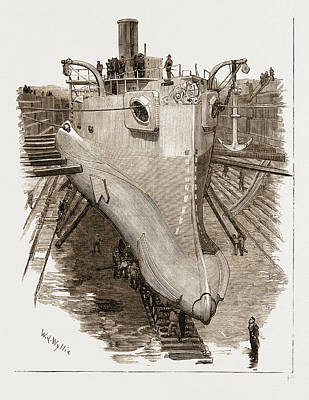 Dock Drawing - The New Torpedo-ram Polyphemus In Dry Dock by Litz Collection