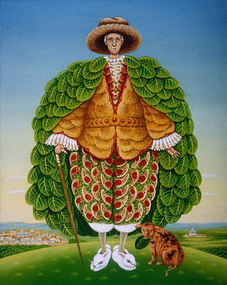 Cabbage Photograph - The New Vestments Ivor Cutler As Character In Edward Lear Poem, 1994 Oils And Tempera On Panel by Frances Broomfield