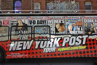 Photograph - The New York Post Tour Bus by Allen Beatty