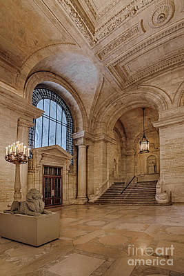 Empire State Building Photograph - The New York Public Library Astor Hall by Susan Candelario