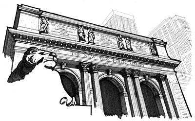 Drawing - The New York Public Library by Calvin Durham